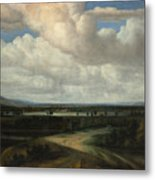 A Panoramic Landscape With A Country Estate Metal Print