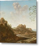A Panoramic River Valley Landscape With Figures And Village Below Metal Print