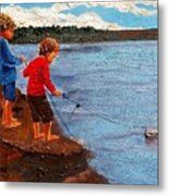 A Paper Boat Floated To An Open Sea  A World Separating You And Me Metal Print