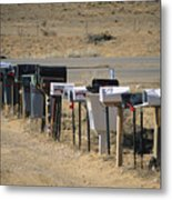 A Parade Of Mailboxes On The Outskirts Metal Print