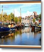 A Peaceful Canal Scene - The Netherlands L A S With Decorative Ornate Printed Frame. Metal Print