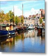 A Peaceful Canal Scene - The Netherlands L B Metal Print