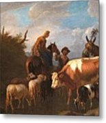 A Peasant Couple Amongst Their Cattle And Sheep Metal Print