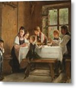 A Peasant Family At Their Meal With A Crying Boy Metal Print