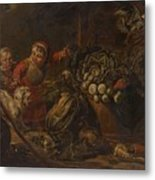 A Peasant Family Dining In An Interior  Metal Print