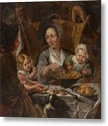 A Peasant Family Dining Metal Print