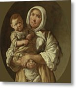A Peasant Mother With Her Child In Her Arms Metal Print
