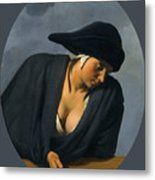A Peasant Woman Wearing A Black Hat Leaning On A Wooden Ledge Metal Print