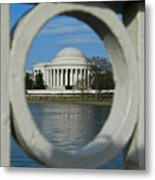A Peek At The Jefferson Memorial Metal Print