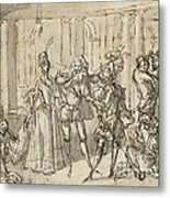 A Performance By The Commedia Dell'arte Metal Print