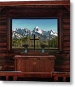 A Pew With A View Metal Print