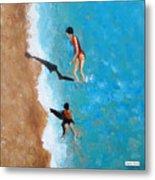 A Piece Of The Beach - Orange Swim Metal Print