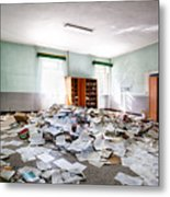 A Pile Of Knowledge - Abandoned School Building Metal Print