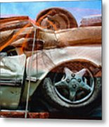 A Pile Of Tied And Netted Autos Metal Print
