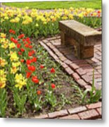 A Place To Sit By The Flowers Metal Print