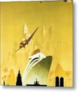 A Pleasant Trip To Germany - Airship, Aircraft, Ship - Retro Travel Poster - Vintage Poster Metal Print
