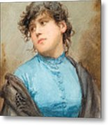 A Portrait Of A Young Woman In A Blue Dress Metal Print