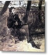 A Pushkin On A Garden Bench 1899 Valentin Serov Metal Print