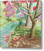 A Quiet Stroll In The Japanese Gardens Of Gibbs Gardens Metal Print