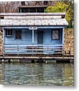 A Raft House Moored To The Shoreline Of Ada Ciganlija Islet Metal Print