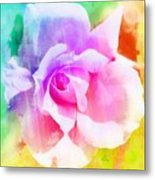 A Rainbow Of A Rose Two Metal Print by Cathie Tyler