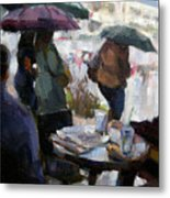 A Rainy Day At Starbucks Metal Print