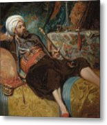 A Reclining Turk Smoking A Hookah, 1844 Metal Print