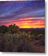 A Red Hot Desert Sunset Metal Print