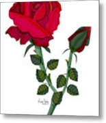 A Red Rose Blooms In Winter Metal Print