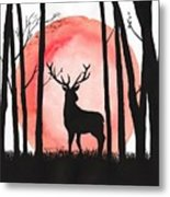 A Reindeer In The Woods Metal Print