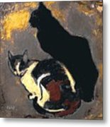 A Replica Of The Cats By Theophile Alexandre Steinlen Metal Print