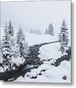 A River And Winter Landscape In Austria Metal Print