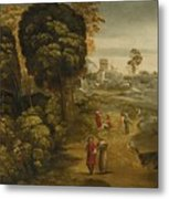 A River Landscape With Figures On A Country Road Metal Print