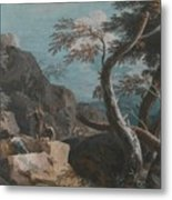 A Rocky Wooded Landscape With Three Peasants Metal Print