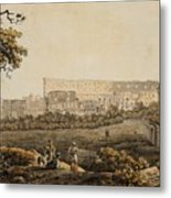 A Roman Landscape With The Colosseum And Figural Staffage Metal Print
