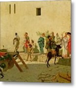 A Roman Street Scene With Musicians And A Performing Monkey Metal Print
