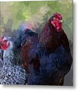 A Rooster And A Hen Metal Print