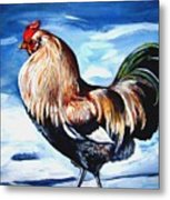 A Rooster In Maine Metal Print