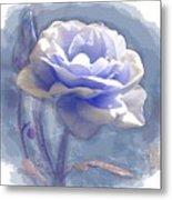 A Rose In Pastel Blue Metal Print