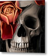 A Rose On The Skull Metal Print