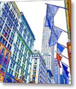 A Row Of Flags In The City Of New York 1 Metal Print