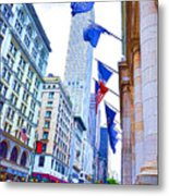 A Row Of Flags In The City Of New York 2 Metal Print