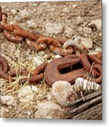 A Rusty Chain And Hook Metal Print