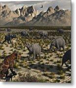A Sabre-toothed Tiger Stalks A Herd Metal Print by Mark Stevenson