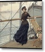 A Scottish Lady On A Boat Arriving In New York Henry Bacon Metal Print