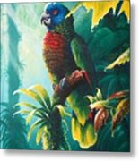 A Shady Spot - St. Lucia Parrot Metal Print