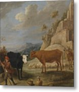 A Shepherd With His Flock In A Landscape With Ruins Metal Print