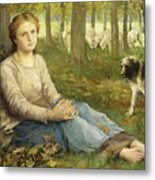 A Shepherdess And Her Flock Metal Print