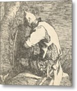 A Sleeping Warrior Seated On A Rock And Leaning On His Shield Metal Print