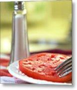 A Slice Of Beefsteak Tomato With Salt Metal Print